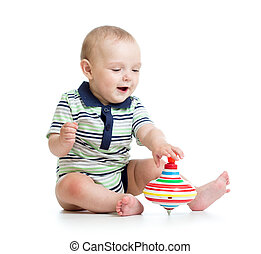 갓난 남자 아기, 노는 것, 와, 장난감