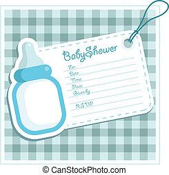 갓난 남자 아기, 샤워, card.