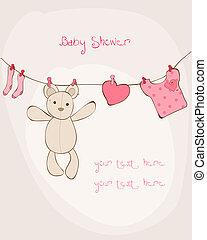 갓난 아기를 축하하는 모임, 카드, 와, 장소, 치고는, 너의, 원본, 에서, 벡터