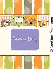 갓난 아기를 축하하는 모임, 카드, 와, 혼자서 젓는 길쭉한 보트, 동물