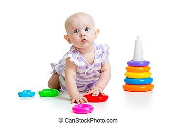 갓난 여자 아기, 노는 것, 와, 교육 장난감