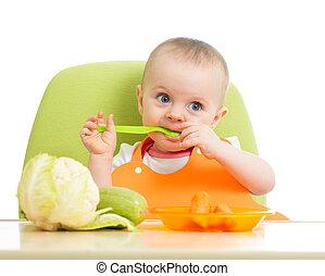 갓난 여자 아기, 먹다, 야채, 행복하다