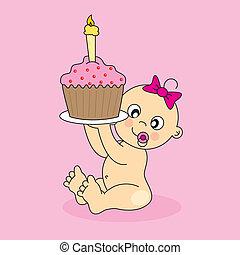 갓난 여자 아기, 와, a, 생일 케이크