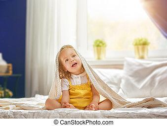 갓난 여자 아기, 취침 시간에