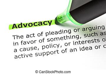 강조된다, 녹색, advocacy