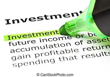 강조된다, 녹색, 'investment'