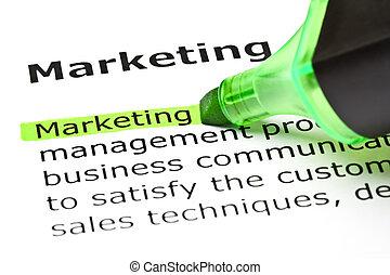 강조된다, 'marketing', 녹색