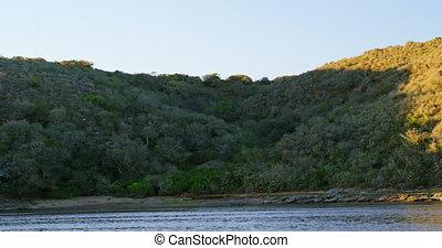 강, 와..., 산, 에, 시골, 4k