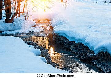 강, 흐르는 것, 완전히, 그만큼, snow-covered, 숲