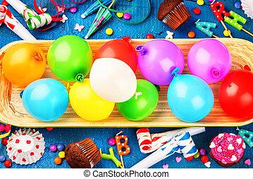 개념, 다채로운, 다색이다, 생일, 배경, balloons., 행복하다