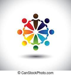 개념, 다채로운, &, 사람, 벡터, 재미, 파티, 원, 가지고 있는 것