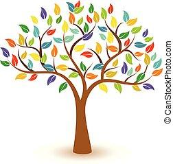 개념, 다채로운, 잎, 나무, 벡터, 아이콘