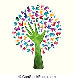 개념, 도움, 다채로운, 자연, 나무, 손, 팀