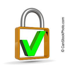 개념, 맹꽁이 자물쇠, 표, 녹색, 자음으로 끝나는, 안전 수표