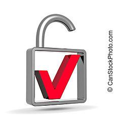 개념, 맹꽁이 자물쇠, 표, 안전, 열려라, 수표, 빨강