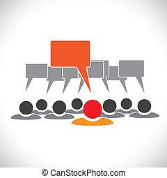 개념, 벡터, graphic-, 지도자, &, 직원, talking(speech, 거품