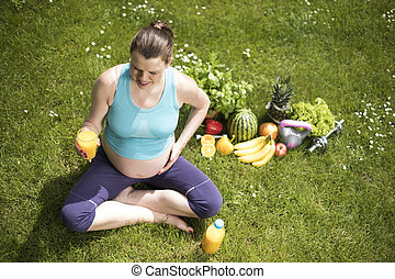 개념, 생활 양식, 건강한, 체조, 적당, 여자