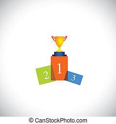 개념, 성공, 다채로운, 컵, 떼어내다, -, 지휘대, 벡터, 아이콘
