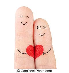 개념, 심장, 가족, 그리는, -, 손가락, 고립된, 여자, 배경, 백색, 파악, 빨강, 남자