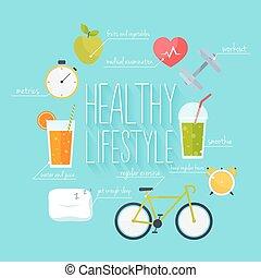 개념, 의, 건강한 생활양식, infographics., 아이콘, 치고는, web:, 적당, 건강에 좋은 음식, 와..., metrics., 바람 빠진 타이어, 디자인, 벡터, illustration.