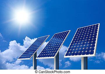 개념, 의, 태양 전지판