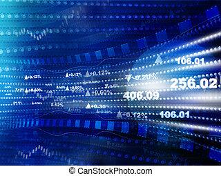 개념, 재정, 경제학, graph., 도표, 세계 시장, 주식