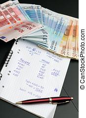 개념, 재정, 돈., 계산, 그림자, 유러, 경제