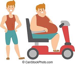 개념, 적당, 체중 감량, 살찐 남자, 와..., 얇은, 운동회, 사람, fatman, 규정식에, 와, 수송, truck.