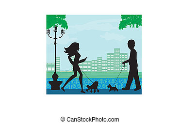 개를 산보시켜라, 에서, a, 도시 공원