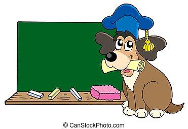개, 선생님, 와, 칠판