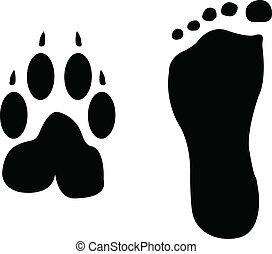 개, 와..., 남자, 발자국