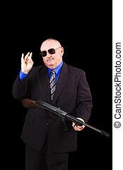 갱, 또는, 정부, 대리인, fbi, 대리인, 위의, a, 검은 배경