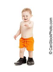 거의, 갓난 남자 아기, 아버지, shoes.