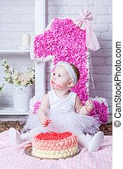 거의, 먹다, 그녀, 생일 케이크, 소녀