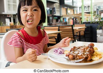 거의, 먹다, 중국 사람 음식, 아시아 사람 여아, 서부극