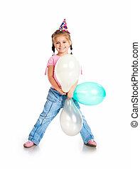 거의, 모자, 고립된, 생일 소녀, 백색