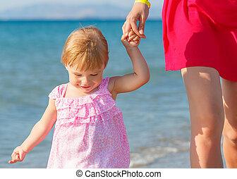 거의, 바닷가, 걷기, 소녀