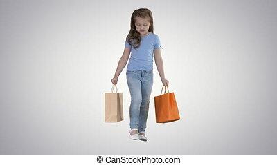 거의, 쇼핑 백, 경사, 소녀, 배경., 걷기