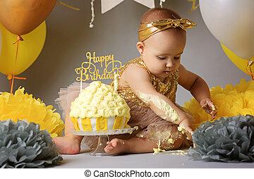 거의, 여기에, 경축하는, 제 2 생일, 소녀