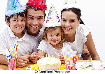 거의, 일, 소녀, birthday's, 불, 초, 가족, 그녀, 나가