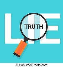 거짓말, 과장하다, 원본, 상징, 확대되는 것, 진실, 변하지 않는, 발견