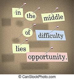 거짓말, 어려움, 기회, 중앙
