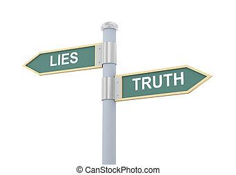 거짓말, 3차원, 진실, 도로 표지