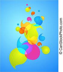 거품, 3, -, 다채로운, 배경