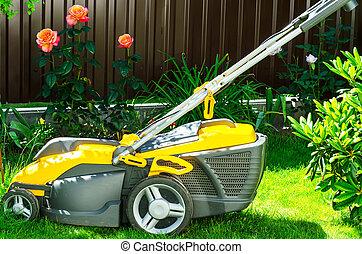 걱정, 의, garden., 잔디밭 채초, 와, 잔디 풀 베는 기계