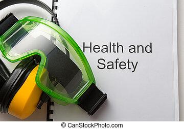 건강과 안전, 기록부, 와, 고글, 와..., 이어폰