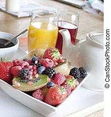 건강에 좋은 아침식사, 와, 과일, 와..., 주스