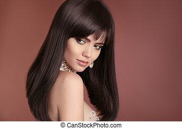 건강한, 길게, hairstyle., 아름다운, 브루넷의 사람, 여자, 와, 갈색의, hair., haircut., fringe., 전문가, makeup., 유행, 보석류, set.