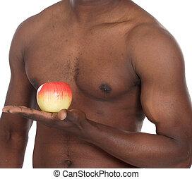 건강한, 남자, 와, 애플