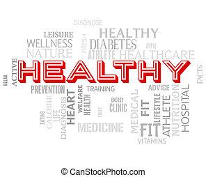 건강한, 낱말, 쇼, 적당, 건강 관리, 와..., 건강